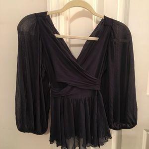 Diane Von Furstenberg Silk Top sheer sleeves XS